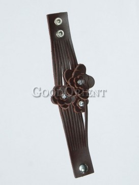 Coffee Three Flowers Leather Bracelet