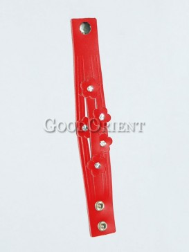 Red Five Flowers Leather Bracelet