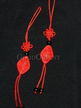Attractive Oriental Cinnabar Lacquerware Cell Phone Chain