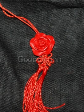 Cinnabar Lacquerware Small Flower Shape Cellphone Chain