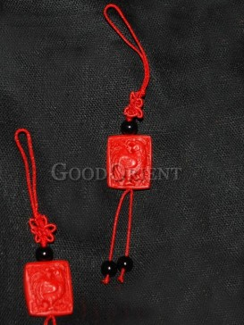 Rooster Cinnabar Lacquerware Cell Phone Chain