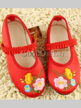 Pink Red Oriental Brocade Flower Embroidery Kid shoesss