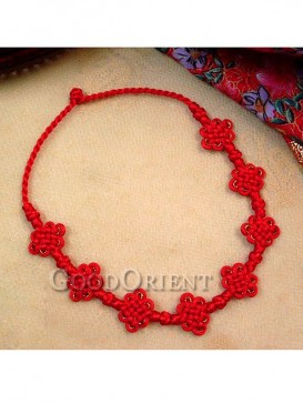 Red connection mystic knot necklace.