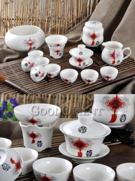 white kung fu tea set with red Chinese knot pattern