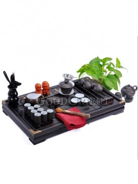 Special Chinese Yixing Purple Sand Tea Set and a Wood tea tray