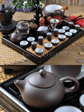 Complete Yixing Kung Fu Tea Set with Wooden tea tray