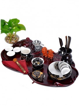 Elegant Ceramic Kung Fu Tea set and hand carving solid wood tea tray