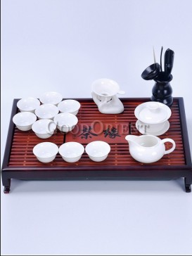 White Ceramics and Wood Tea Set
