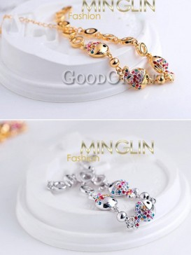 Silver & Gold Plated Crystal Fish Shape Women Bracelet