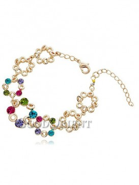 Gold Plated Bracelet with Multi-Colored Gemstone