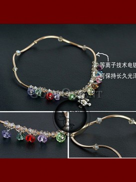 Red and Green Anklet Crystal with Bear pendant