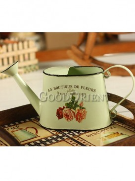 Light Yellow Iron Flower Watering Can