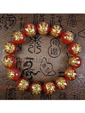 Energy Red with Buddha design Agate Bracelet