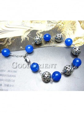The Encouraging Miao Silver Blue Agate Bracelet