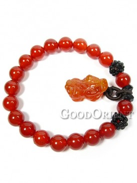Red Agate Bracelet with Pixiu Charm