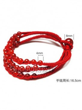 Red String Bracelet with Small Red Agates