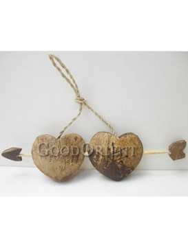 Room Decoration Two Hearts Coconut Shell