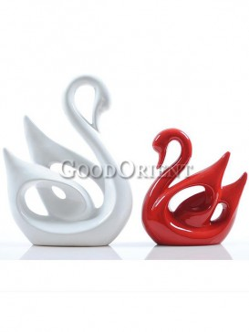 White and Red swan couple Japanese porcelain