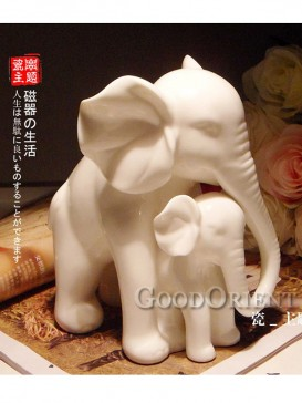 Mother and Baby Elephant Porcelain Interior Decoration
