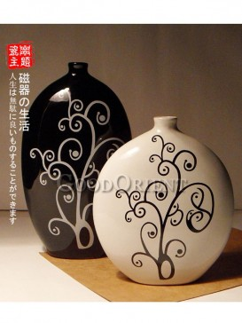 Black and White Japanese porcelain vase