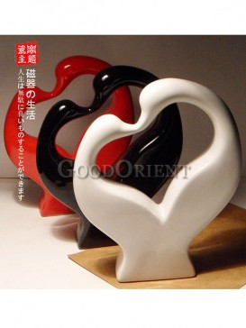 Multicolored porcelain Swan couple heart shape