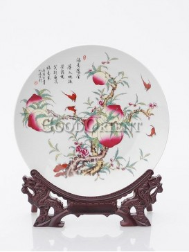 Longevity Peach Porcelain Plate Apartment Decor