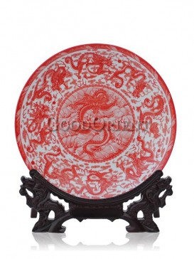 Red decorative plate porcelain with Dragon design