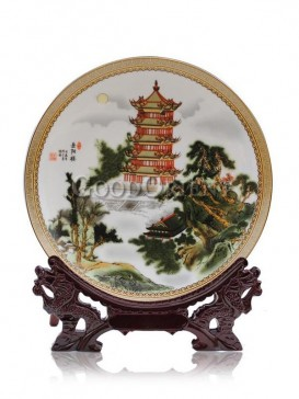 Yueyang Tower Porcelain Plate Apartment Decor
