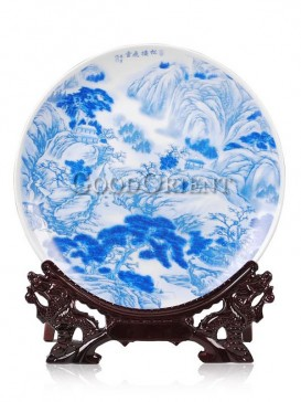 Mountain and water design of porcelain decorative plate