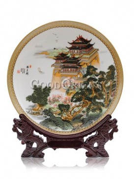 Decorative plate with Tengwang tower design
