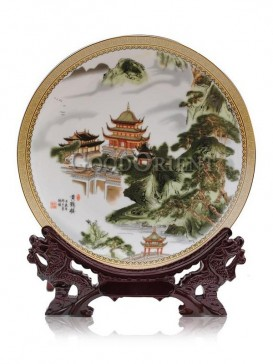 Decorative plate with Yellow crane tower design