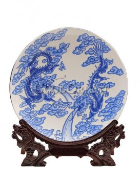 Blue and white ensign dragons of decorative plate