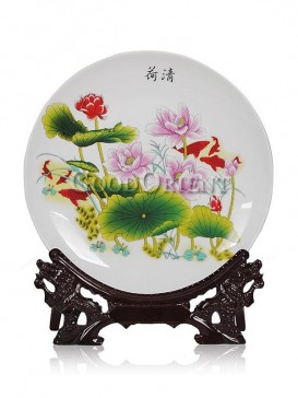 Porcelain decorative plate with lotus flower design