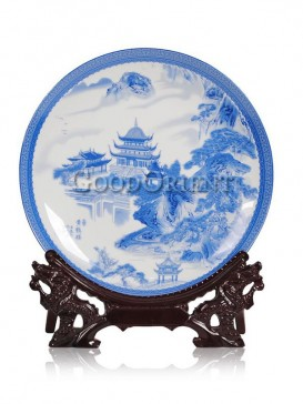 Blue and White decorative plate with Yellow crane design