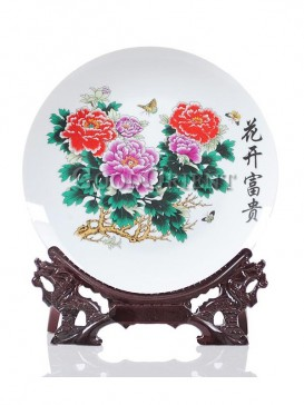 Decorative plate with wealthy peony design