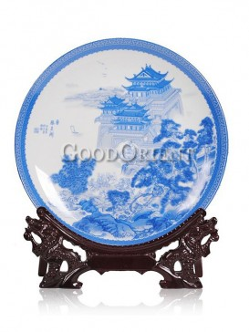 Blue and White decorative plate with Tengwang tower design