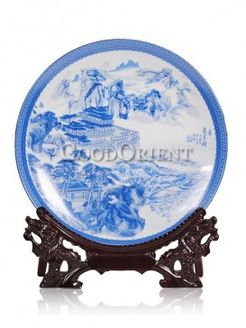 Blue and White Decorative plate with Penglai Pavilion design