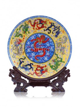 Decorative plate with Nine Dragons design