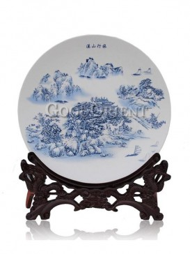 Blue and White decorative plate with mountain plus water design