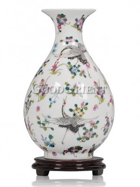 Noctilucent Vase with fairy crane and flowers'design