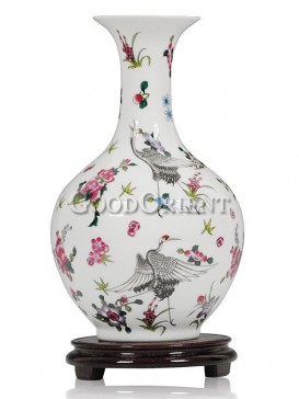 Porcelain vase with fairy crane with flowers'design