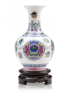 Porcelain vase with colorful flowers'design