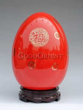 Porcelain egg with Chinese character fu design