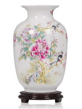 White Vase porcelain with peony pattern
