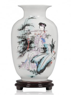 White Vase with Chinese beauty playing flute design