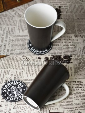 Black Chinese porcelain coffee mug