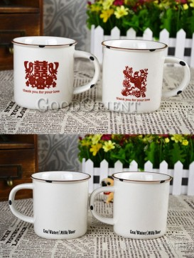 Chinese Papercutting Pattern Porcelain Mug