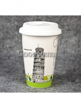 Coffee Cup with Leaning Tower of Pisa design
