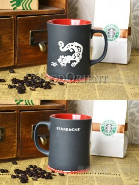 Red with Black Coffee Mug with Komodo dragon pattern
