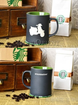Green with Black Coffee mug with motorcycle pattern